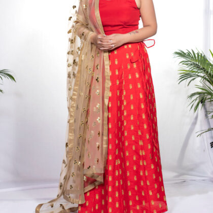 Red lehenga with gold work & unstitched choli