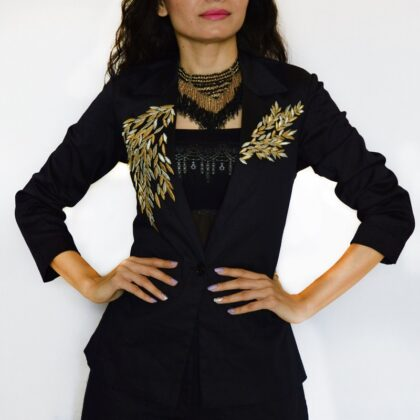 Black blazer with gold embroidery and black pant