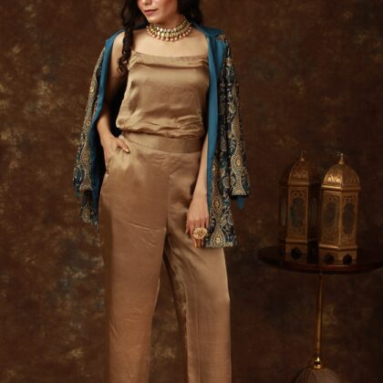 Peacock Blue blazer with zari work, antique color pure satin crepe pant & inner